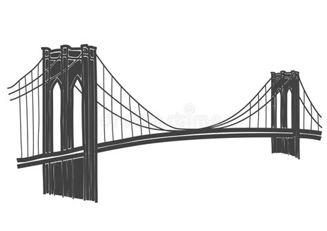 Drawing Of The Brooklyn Bridge In New York Stock Vector ...