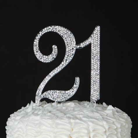 cake topper st birthday party silver number