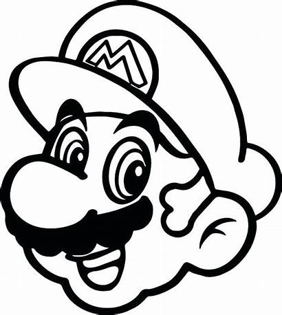 Mario Coloring Pages Super Face Clipart Drawing
