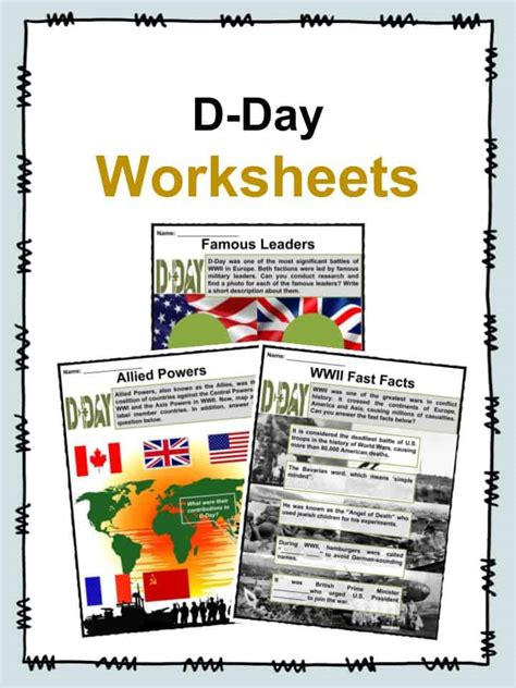 d day facts worksheets historical battle significance