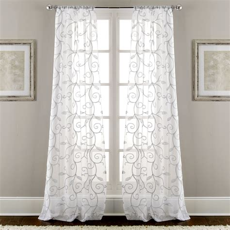 sheer curtain panels sheer embroidered curtains