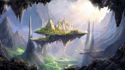 Fantasy Fortress Wallpapers Floating Castle Sky Background