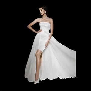dentelle short lace wedding dress detachable train 10793 With short wedding dresses with train