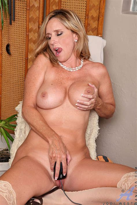 Classy Older Lady Jodi West Strips And Masturbates After A