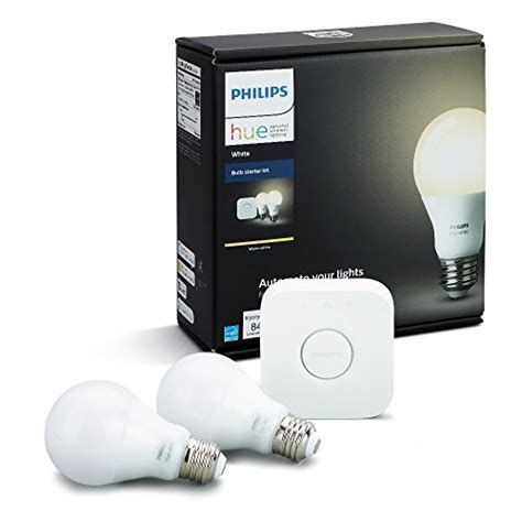 philips hue white a19 60w equivalent dimmable led smart bulb starter kit 2 a19 60w white bulbs