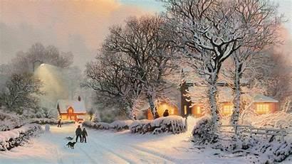 Winter Village Theme Painting Desktop Wallpapers Backgrounds