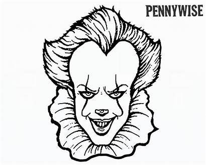 Pennywise Clown Coloring Pages Draw Printable Scary