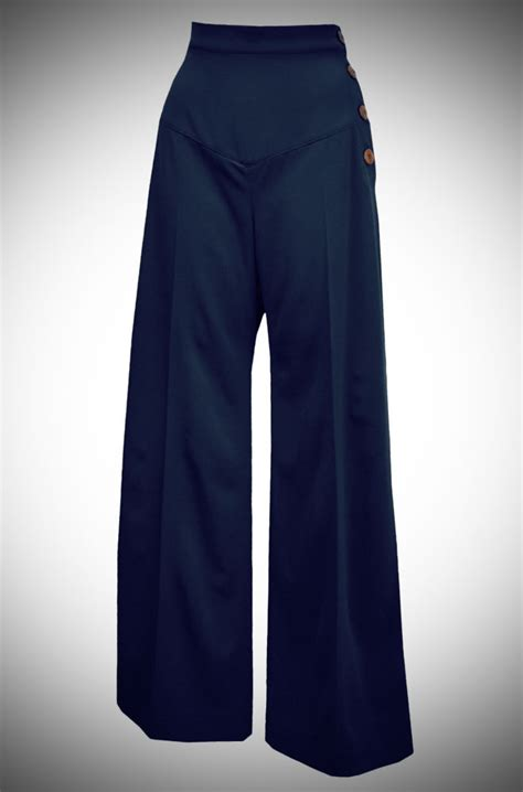 side panel trousers 30s wide leg trousers in navy at deadly is the