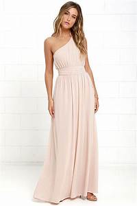 One-Shoulder Gown - Blush Maxi Dress - Bridesmaid Dress ...