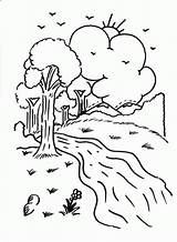 River Coloring Printable Trees Fun Clouds Camping Sun Designlooter Colouring Visit sketch template