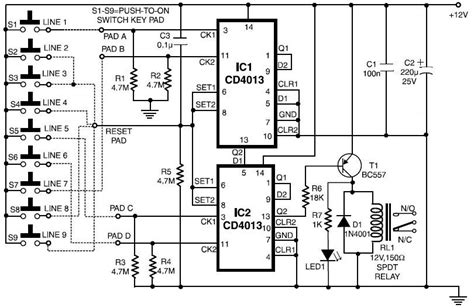 Simple Electronic Code Lock Circuits Projects