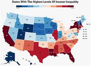 US states with the highest levels of income inequality