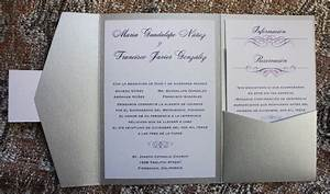 silver eggplant lavender swirls scrolls spanish With wedding invitation wording pocketfold