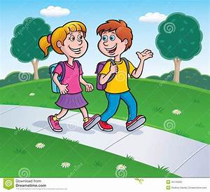 Girl And Boy Walking From School With Backpacks Stock ...