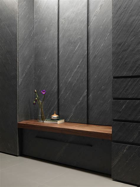 black stone wall treatment interior design ideas