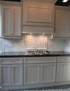 grey cabinets white subway tile and black granite counter With kitchen colors with white cabinets with mosaic eight plates wall art
