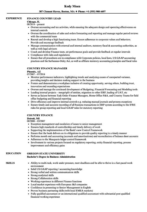 country finance resume sles velvet