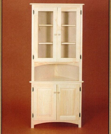 amish unfinished solid pine corner hutch china cabinet country style  door corner hutch