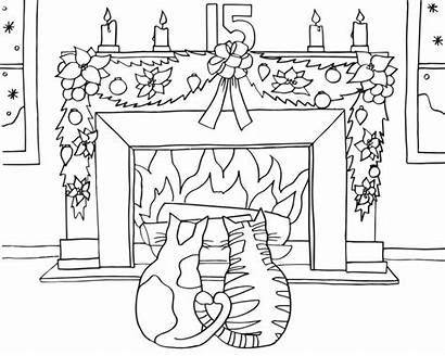 Coloring Pages Advent Calendar Fireplace Christmas Printable