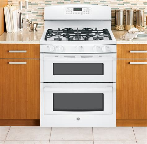jgbdefww ge   standing gas double oven range white