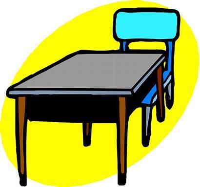 Desk Classroom Clip Chair Clipart Table Chairs