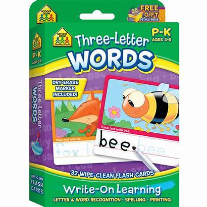Letter Three Cards Flash Words Write Learning