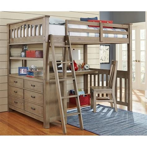 queen size bunk bed with desk ne kids highlands full loft bed with desk and shelf in