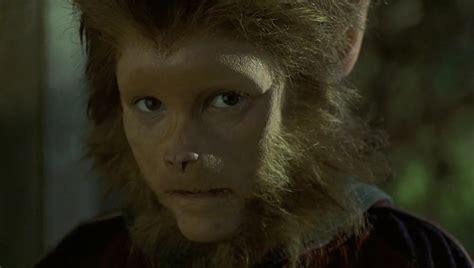 jumanji peter monkey monkeys face 1995 fake boy kid into pierce bradley shapeshifting shapeshifters wolfboy looks wolf human ears movie