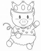 Coloring Pig Crown sketch template