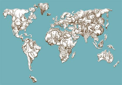 Animal Map Of The World Wallpaper - world map collection