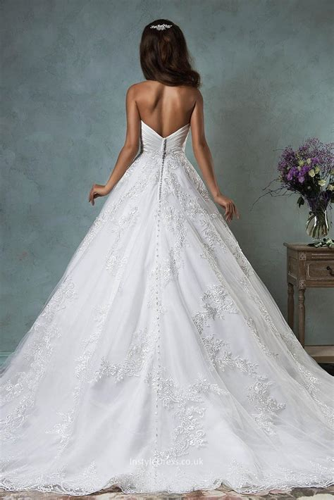 Princess Strapless Sweetheart Lace Tulle Backless Ball