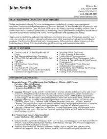 sle machine operator resume heavy equipment operator resume builder