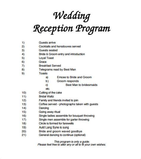 sle wedding program template 11 documents in pdf - Wedding Reception Program