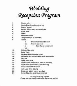 Wedding reception programs examples mini bridal for Wedding reception agenda template