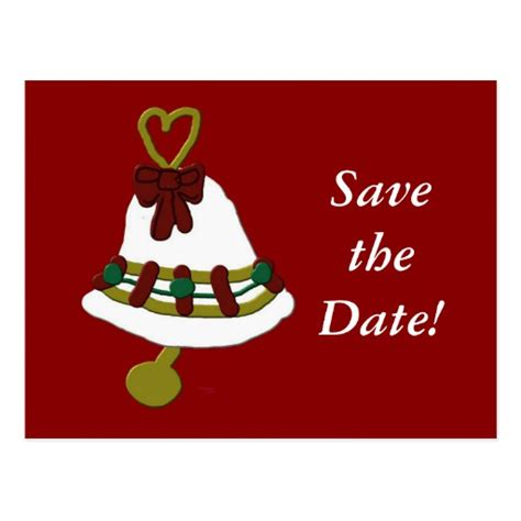 christmas bell save the date postcard zazzle