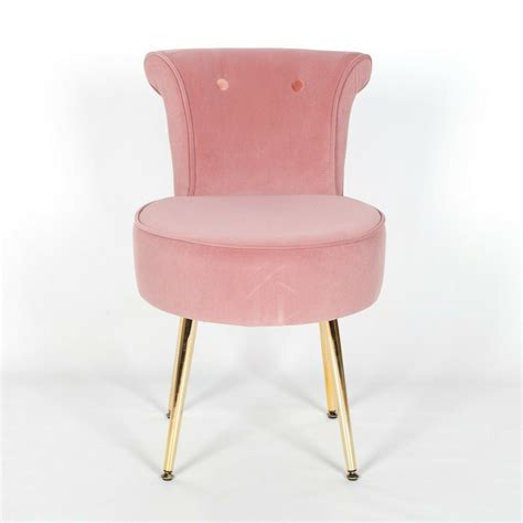 amour velvet pink gold legs dressing table stool