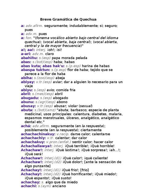 Breve Gramática de Quechua