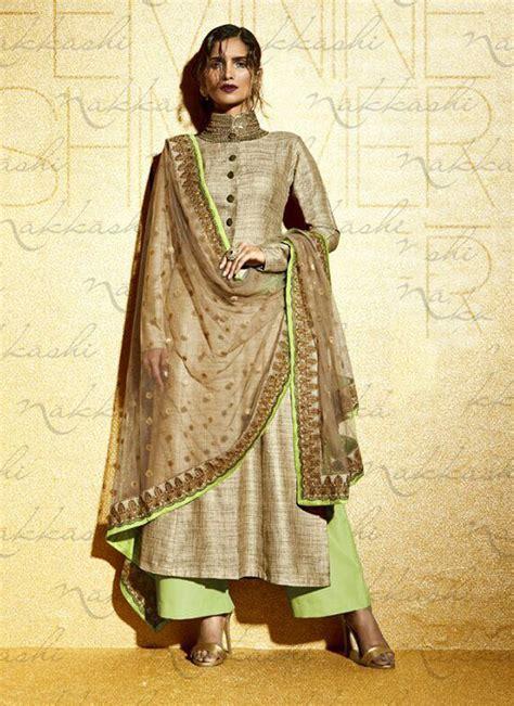 designer suits for beige and pista embroidered designer suit