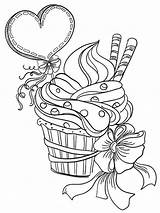 Coloring Pages Valentines Adults Cupcake sketch template
