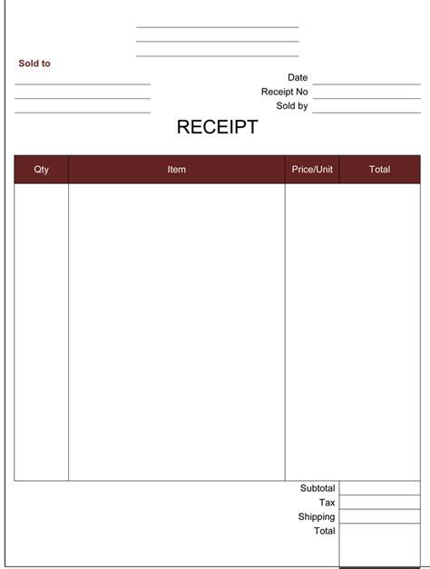 free receipt template blank receipt template receipt form exles blank receipt template