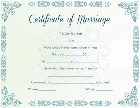 marriage certificate template mint colored marriage certificate template