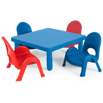 angeles myvalue toddler table and chairs set 28 quot square 312 | m myvalue plastic table stacking chair set preschool classroom angeles