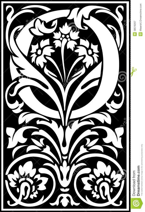 flowers decorative letter  balck  white stock vector image