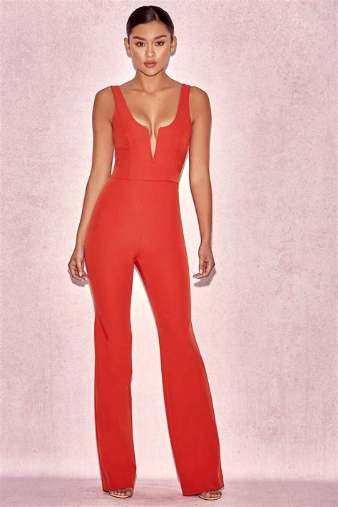 plunge jumpsuit clothing jumpsuits 39 natalja 39 v plunge jumpsuit