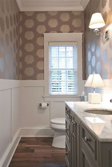 homey half bath love the wallpaper h o m e bathroom