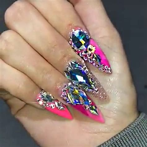 whoa vicky hot pink jewels nail art studs nails steal