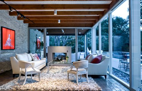 tongue and groove ceiling sunroom midcentury with brick