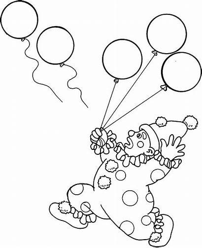 Carnival Coloring Pages Clown Balloons Lose Circus