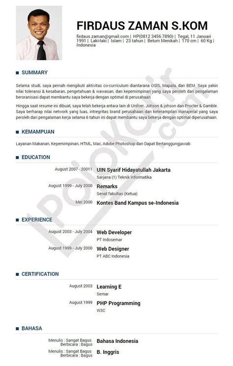 Contoh Nulis Di Lop Lamaran Kerja by Contoh Curriculum Vitae Contoh Curriculum Vitae