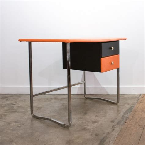 bureau chrome bureau orange chrome et noir